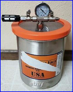 1.5 Gallon Tall Stainless Steel Vacuum Chamber and Single Stage Vacuum Pump Kit