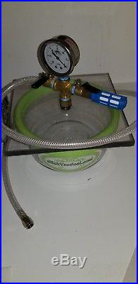 2 QT Pyrex Glass Vacuum Chamber+ With SlickVacSeal and vacuum pump