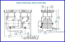 GAST SAA-V108-NQ Vacuum Pump MINIATURE ROCKING PISTON, Low noise, Oil-free