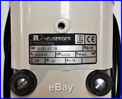 KNF Neuberger N022AT. 18 PTFE Diaphragm Lab Vacuum Compressor Pump, 230V 60Hz