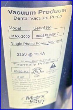 Matrx MaxiMizer MAX 2000-2P Dual Wet-Ring Dental Suction Vacuum Pump, 4-HP, 230v