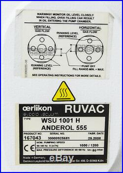 OERLIKON LEYBOLD RUVAC WSU 1001 H ANDEROL 555 2008r VACUUM PUMP