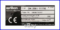 Oerlikon Leybold Dk 200 Wsu 1001h Vacuum Pump