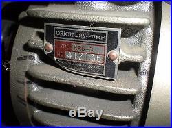 Orion Type KRS-3 Dry Vacuum Pump with Dayton 1/2Hp 115/230VAC 1Ph Motor Runs