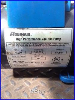 Robinair Cooltech 15600 Two Stage 1/2HP Vacuum Pump 1725RPM 6CFM 1PH 115V