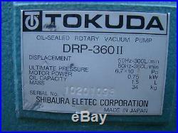 Tokuda OIL-SEALED ROTARY VACUUM PUMP 0.75kW cap 1.5L 34kg DRP-360II