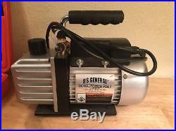 US General A/C Manifold Gauge Set R-134A Model 92649 and 2.5 CFM vacuum pump