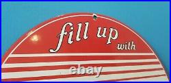 Vintage Mobilgas Porcelain Vacuum Oil Mobil Gas Service Station Pump Plate Sign