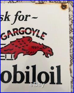 Vintage-rare 1930's Mobiloil Vacuum Porcelain Gargoyle Gas Pump Sign