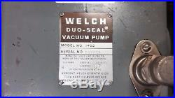 Welch 1402 Duo-Seal DuoSeal Vacuum Pump with baldor Electric 1/2 HP Motor Works
