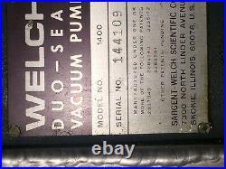 Welch Duoseal 1400 vacuum pump 1/3 HP used